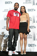 June 30, 2012-Los Angeles, CA : (L-R) Comedian/Actor/Recording Artist Jamie Foxx and Actress Kerry Washington attends the 2012 BET Awards- Media Room held at the Shrine Auditorium on July 1, 2012 in Los Angeles. The BET Awards were established in 2001 by the Black Entertainment Television network to celebrate African Americans and other minorities in music, acting, sports, and other fields of entertainment over the past year. The awards are presented annually, and they are broadcast live on BET. (Photo by Terrence Jennings)