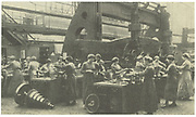 World War I: Women munitions workers at Krupps, Essen, Germany.