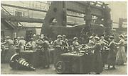 World War I: Women munitions workers at Krupps, Essen, Germany.