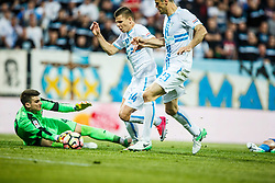 Roman Bezjak #14 of HNK Rijeka with Franko Andrijasevic #23 of HNK Rijeka and Dominik Livakovic #40 of GNK Dinamo Zagreb during football match between HNK Rijeka and GNK Dinamo Zagreb in Round #27 of 1st HNL League 2016/17, on November 5, 2016 in Rujevica stadium, Rijeka, Croatia. Photo by Grega Valancic / Sportida