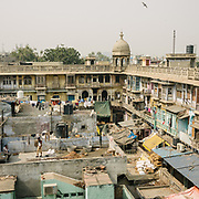 View over a Haveli, a traditional townhouse or mansion in India, usually one with historical and architectural significance. In the busy Chadni Chowk market.