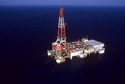 Stock photo of an aerial view of a semi subersible rig