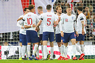 GOAL 1-0. Raheem Sterling of England celebrates with teammates after scoring a goal during the UEFA European 2020 Qualifier match between England and Czech Republic at Wembley Stadium, London, England on 22 March 2019.