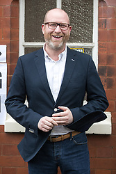© Licensed to London News Pictures . 08/06/2017. Congleton, UK. UKIP leader Paul Nuttall outside a polling station in Rood Lane Methodist Church after voting in the general election . Photo credit: Joel Goodman/LNP