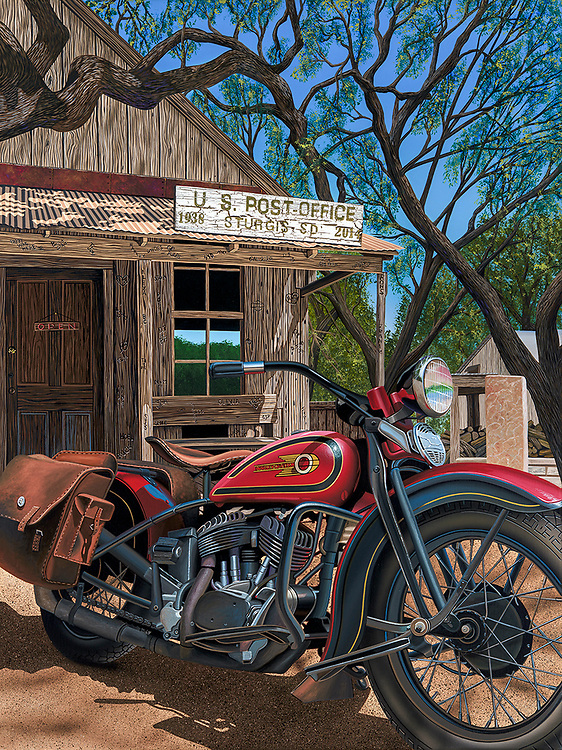 """""""Pappy Was Here""""<br /> Painting by Scott Jacobs 2014<br /> <br /> Pappy Hoel started Sturgis back in 1938. This was Scotts official piece for the 2014 Sturgis Rally."""