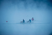 Aiguebelette, FRANCE,  NZL M2X, Sunday Morning training, Misty and Low cloud conditions, at Lake Aiguebelette, Venue for the  2015 FISA World Rowing Championships,  Savoie. <br /> <br /> Sunday  06/09/2015  [Mandatory Credit. Peter SPURRIER/Intersport Images]. © Peter SPURRIER, Atmospheric, Rowing