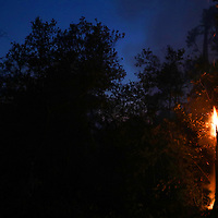 The crescent moon rises over a burning tree along Empire Grade Road in Bonny Doon, California as the CZU August Lightning Complex continues to rage Saturday August 22, 2020.