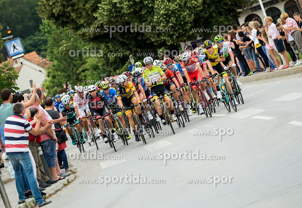 Benjamin Hill of Ljubljana Gusto Xaurum in green jersey leading the peloton during 3rd Stage of 25th Tour de Slovenie 2018 cycling race between Slovenske Konjice and Celje (175,7 km), on June 15, 2018 in  Slovenia. Photo by Vid Ponikvar / Sportida
