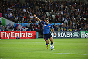 Morgan Parra (France) scoring France's first penalty to take the score France 3 Romania 0 during the Rugby World Cup Pool D match between France and Romania at the Queen Elizabeth II Olympic Park, London, United Kingdom on 23 September 2015. Photo by Matthew Redman.