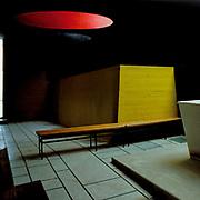 Éveux, France, Rodano, 1980: Interior view of the sacristy, Sainte Marie de La Tourette (1957) , located on a hillside near Lyon - Le Corbusier arch - Photographs by Alejandro Sala