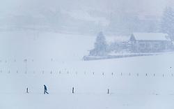 28.04.2017, Piesendorf, AUT, Wintereinbruch in Salzburg, im Bild ein Mann spaziert im Schneetreiben // A man is walking in the snow in Piesendorf, Austria on 2017/04/28. EXPA Pictures © 2017, PhotoCredit: EXPA/ JFK
