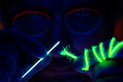 Portrait of a man trying to thread a needle with glowing frayed yarn.Black light