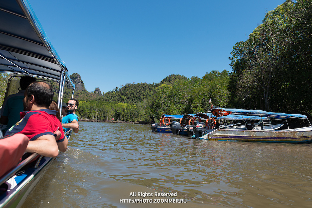 Boat With Tourists In Kilim River Tour, Langkawi