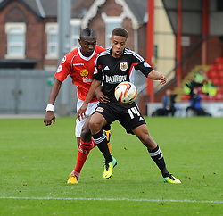 Bristol City's Bobby Reid controls the ball under pressure - Photo mandatory by-line: Dougie Allward/JMP - Tel: Mobile: 07966 386802 19/10/2013 - SPORT - FOOTBALL - Alexandra Stadium - Crewe - Crewe V Bristol City - Sky Bet League One