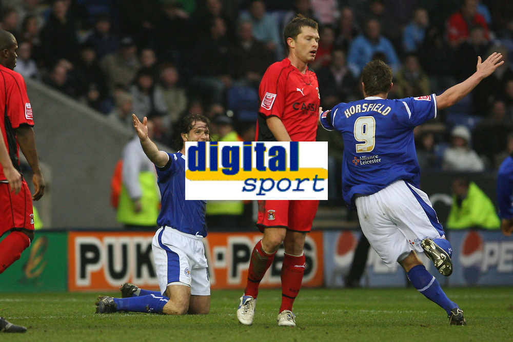 Photo: Pete Lorence.<br />Leicester City v Coventry City. Coca Cola Championship. 17/02/2007.<br />Geoff Horsfield runs in to congratulate Nils-Eric Johansson.