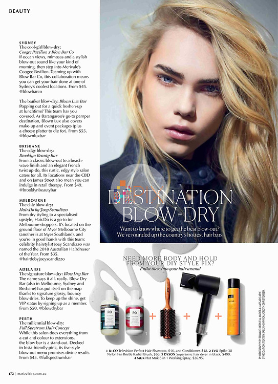 If you want to save time searching for the best blow dry, check out 'Destination Blow Dry' in the Beauty pages of this month's Marie Claire magazine, Australia.<br /> <br /> Main image from our shoot 'smooth as silk', available now:  https://www.apixsyndication.com/gallery/smooth-as-silk/G0000NMax1_vlk3g/C0000W_gEZJlwX6U