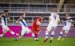 HELSINKI, FINLAND - Thursday, September 3, 2020: Wales' captain Gareth Bale shoots during the UEFA Nations League Group Stage League B Group 4 match between Finland and Wales at the Helsingin Olympiastadion. (Pic by Jussi Eskola/Propaganda)