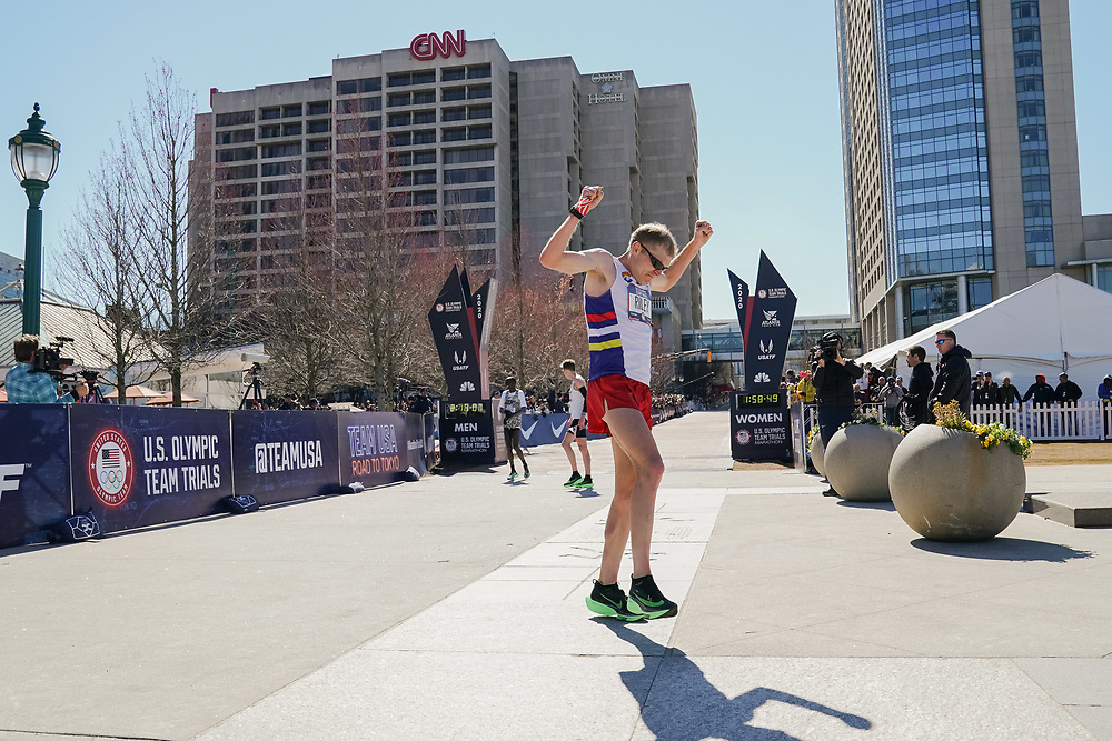 Jacob Riley celebrates coming in second place in the 2020 U.S. Olympic marathon trials in Atlanta on Saturday, Feb. 20, 2020. Photo by Kevin D. Liles for The New York Times