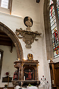 The memorial to Elizabeth Pepys, wife of 17th century London diarist, Samuel Pepys in St Olave's Church on the corner of Seething Lane in the City of London, on 30th May 2018, in London, England.