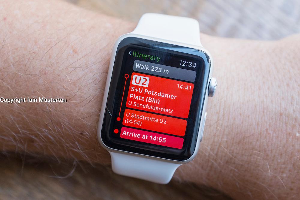 Transport transit guide app showing nearest public transport in Berlin on an Apple Watch