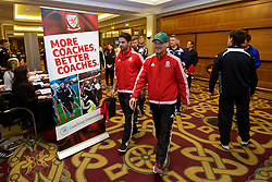 NEWPORT, WALES - Friday, May 20, 2016: Former Arsenal players Mikel Arteta and Fredrik Ljungberg during the Football Association of Wales' National Coaches Conference 2016 at the Celtic Manor Resort. (Pic by David Rawcliffe/Propaganda)