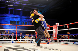 Lee Haskins celebrates victory over Luke Wilton in their Bantamweight bout - Photo mandatory by-line: Rogan Thomson/JMP - Tel: 07966 386802 - 01/03/2014 - SPORT - BOXING - The City Academy, Bristol - James DeGale v Gevorg Khatchikian.