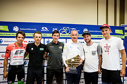 Rigoberto Uran of Team EF Education Cannondale, Rafal Majka of Bora Hansgrohe, Primoz Roglic of Team Lotto NL Jumbo, Bogdan Fink, race director, Mark Cavendish of Dimension Data and Marcel Kittel of Team Katusha Alpecin posing with a trophy during press conference of 25th Tour de Slovenie 2018 cycling race, on June 12, 2018 in Hotel Livada, Moravske Toplice, Slovenia. Photo by Vid Ponikvar / Sportida