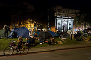 Extinction Rebellion Marble Arch camp. Several roads were blocked across four sites in central London, by the Extinction Rebellion climate change protests, April 2019.