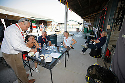 Belgian eventing team in a meeting at the stables in the Kentucky Horse Park chef de mission Ingmar Devos,<br /> Sarah Van Hasselt, chf d'equipe Mathieu Beerts, Karin Donckers, Vic Donckers, Kurt , Lara de Liedekerke<br /> World Equestrian Games Lexington - Kentucky 2010<br /> © Dirk Caremans