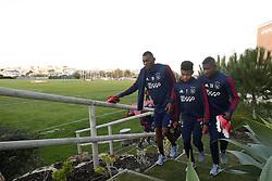 (L-R), Mateo Cassierra Ajax, David Neres of Ajax, Luis Manuel Orejuela of Ajax during a training session of Ajax Amsterdam at the Cascada Resort on January 08, 2018 in Lagos, Portugal