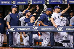 June 9, 2017 - St. Petersburg, Florida, U.S. - WILL VRAGOVIC       Times.Tampa Bay Rays center fielder Kevin Kiermaier (39) collects high fives with his crutch after the three run home run by right fielder Steven Souza Jr. (20) in the first inning of the game between the Tampa Bay Rays and the Oakland Athletics at Tropicana Field in St. Petersburg, Fla. on Friday, June 79, 2017. (Credit Image: © Will Vragovic/Tampa Bay Times via ZUMA Wire)