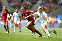 Football - 2019 Womens International Friendly - England Women vs. New Zealand Women<br /> <br /> Englands Lucy Staniforth and Rosie White of New Zealand in action during the final Lionesses warm up fixture at The Amex Stadium Brighton England<br /> <br /> COLORSPORT/SHAUN BOGGUST