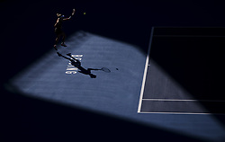 BEIJING , Oct. 2, 2018  Angelique Kerber of Germany hits a return during the women's singles second round match against Carla Suarez Navarro of Spain at China Open tennis tournament in Beijing, China, Oct. 2, 2018. Angelique Kerber won 2-0. (Credit Image: © Fei Maohua/Xinhua via ZUMA Wire)