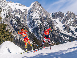 22.02.2020, Suedtirol Arena, Antholz, ITA, IBU Weltmeisterschaften Biathlon, Damen, 4 x 6 km Staffel, im Bild v.l. Ying Qu (CHN), Christina Rieder (AUT) // f.l. Ying Qu of China and Christina Rieder of Austria during women's 4 x 6 km Relay of IBU Biathlon World Championships 2020 at the Suedtirol Arena in Antholz, Italy on 2020/02/22. EXPA Pictures © 2020, PhotoCredit: EXPA/ Stefan Adelsberger