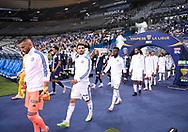 Teams OL and PSG enter the pitch before the French League Cup (Coupe de la Ligue) final match between Paris Saint-Germain (PSG) and Olympique Lyonnais (OL, Lyon) on July 31, 2020 at the Stade de France, in Saint-Denis, near Paris, France - Photo Juan Soliz / ProSportsImages / DPPI