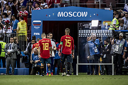 July 1, 2018 - Moscow, Russia - FIFA World Cup 2018. Russia defeated Spain.  Jordi Alba och Sergio Ramos lämnar Luzhniki stadium. Fotbolls-VM, match 51, Spanien - Ryssland, Luzhniki stadium, Moscow, Russia  (Credit Image: © Orre Pontus/Aftonbladet/IBL via ZUMA Wire)