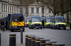 © Licensed to London News Pictures. 03/04/2021. London, UK. A heavy police presence around Downing Street in Westminster ahead of a Kill The Bill demonstration in central London. A number of campaign groups, including Sisters Uncut and Extinction Rebellion, have come together to form a 'Kill the Bill Coalition', which opposes the introduction of the Police, Crime, Sentencing and Courts Bill. Photo credit: Ben Cawthra/LNP