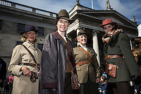 Ita Marmion from County Meath, Andrea Mulligan from Dublin, Aislinn Lucheroni from Dublin and Blaithin Ni Chroinin from Dublin enjoying the Easter Monday 1916 commemorations.<br />Pic:Mark Condren<br />28.3.2016