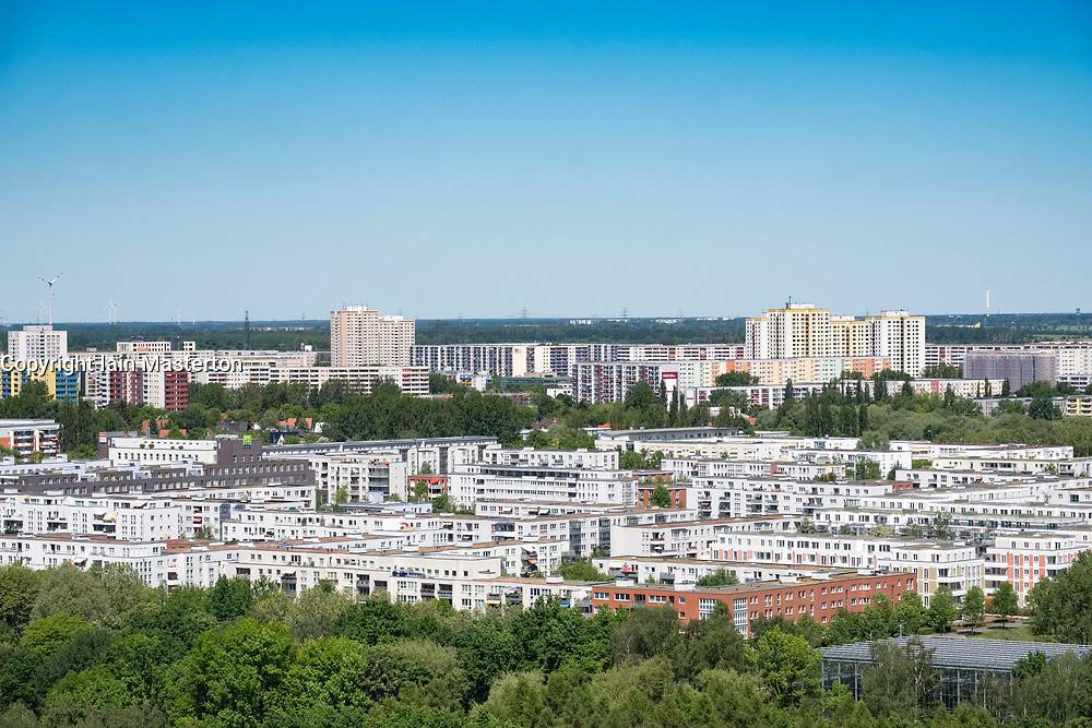 View of housing estate at Marzahn  from viewpoint at IFA 2017 International Garden Festival (International Garten Ausstellung) in Berlin, Germany