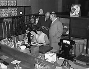 15th October 1952<br /> <br /> P.J. Carroll and Co. Ltd tobacco factory, Dundalk. Visit of Sean MacEntee, Minister for Finance, to the Factory. Picture shows  Mr. M. Kerley, Factory Manager giving the Minister a tour of the factory.