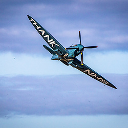 NHS Spitfire takes of from Cumbernauld Airport