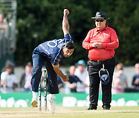 EDINBURGH, SCOTLAND - JUNE 12: Safyaan Sharif of Scotland bowls during the International T20 Friendly match between Scotland and Pakistan at the Grange Cricket Club on June 12, 2018 in Edinburgh, Scotland. (Photo by MB Media/Getty Images)