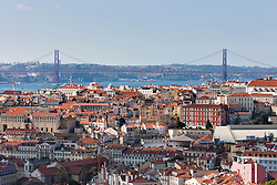 Aerial view of a city, April 25th Bridge, Lisbon, Portugal