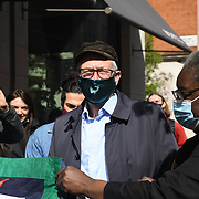 Speaker Jeremy Corbyn a former labour leader protest against US Centene Corporation has bought up 49 London GP practices of fear its will ruin UK NHS in London, on 22nd April 2021.