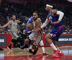 November 15, 2018 - Los Angeles, California, U.S - Mike Scott #30 of the Los Angeles Clippers defends against Patty Mills #8 of the San Antonio Spurs during their NBA game on Thursday November 15, 2018 at the Staples Center in Los Angeles, California. Clippers defeat Spurs, 116-111. (Credit Image: © Prensa Internacional via ZUMA Wire)