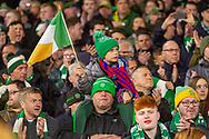 A young Celtic fan sings his clubs anthem ahead of the Europa League match between Celtic and CFR Cluj at Celtic Park, Glasgow, Scotland on 3 October 2019.