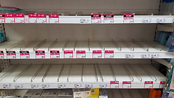 © Licensed to London News Pictures. 11/03/2020. London, UK. Superdrug store in London runs out of hand wash liquid and hand sanitiser amid an increased number of cases of Coronavirus (COVID-19) in the UK. Major supermarkets have started to ration certain products after shoppers began to stockpile. Six coronavirus victims have died and 373 cases have tested positive of the virus. Photo credit: Dinendra Haria/LNP