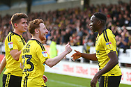 Burton Albion forward Lucas Akins (10) scores his second goal with a penalty kick and celebrates with Burton Albion midfielder Stephen Quinn (23) 5-2 during the EFL Sky Bet League 1 match between Burton Albion and Accrington Stanley at the Pirelli Stadium, Burton upon Trent, England on 23 March 2019.