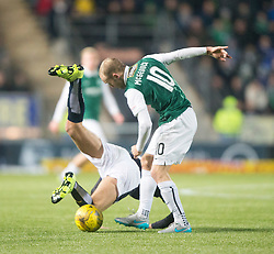 Falkirk's Aaron Muirhead and Hibernian's Dylan McGeouch. <br /> Falkirk 1 v 1 Hibernian, Scottish Championship game played 17/1/2015 at The Falkirk Stadium.