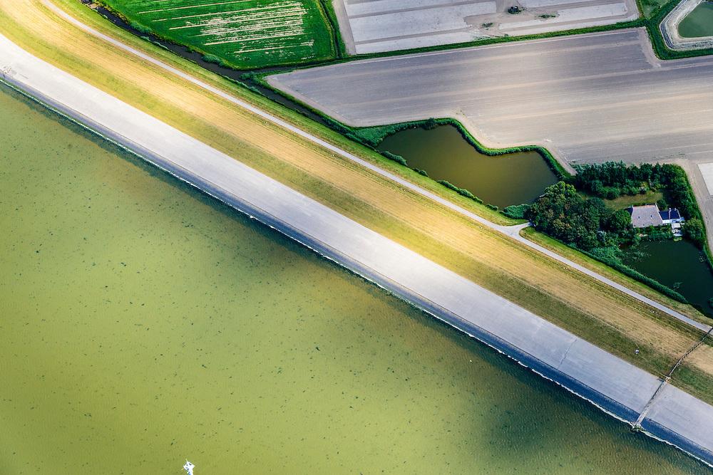 Nederland, Friesland, Gemeente Dongeradeel, 05-08-2014; zeedijk Waddenzee tussen Wierum en Moddergat.<br /> Seawall Wadden Sea, North Netherlands.<br /> <br /> luchtfoto (toeslag); aerial photo (additional fee required); foto Siebe Swart / photo Siebe Swart